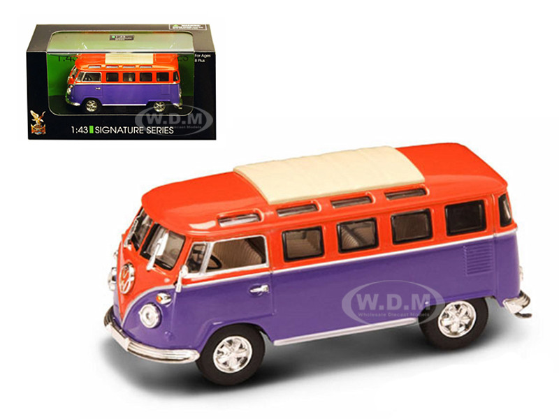 1962 Volkswagen Microbus Van Bus Orange/Purple 1/43 Diecast Car Road Signature 43209