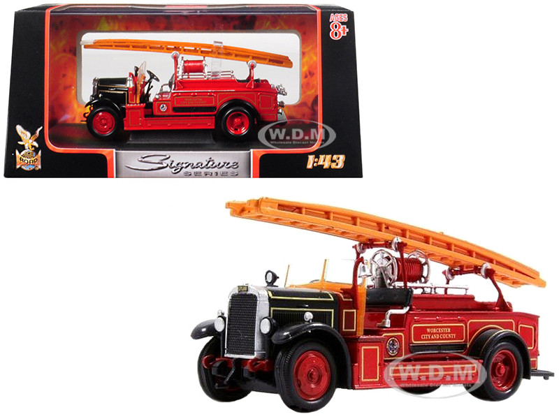 1934 Leyland FK-1 Fire Engine Red Black 1/43 Diecast Model Road Signature 43009