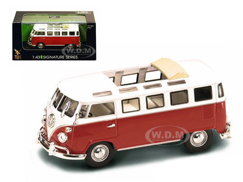 1962 Volkswagen Microbus Van Bus Red With Open Roof 1/43 Diecast Car Road Signature 43208