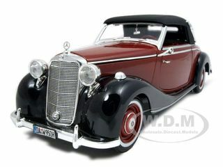 1950 Mercedes 170S Cabriolet Burgundy/Black 1/18 Diecast Model Car Signature Models 18123