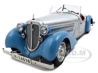 1935 Audi 225 Front Roadster 1 of 4000 Produced Silver/Blue 1/18 Diecast Model Car CMC 075B