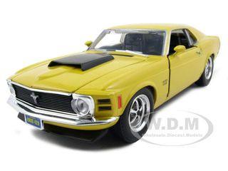 1970 Ford Mustang Boss 429 Yellow 1/24 Diecast Model Car Motormax 73303