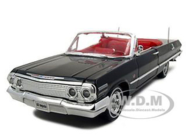 1963 Chevrolet Impala Convertible Black Red Interior 1/24 Diecast Model Car Welly 22434