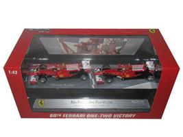 Ferrari F1 80th One-Two Victory Felipe Massa & Fernando Alonso F10  Bahrain GP 3/14/2010 1/43 by Hotwheels