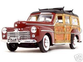 1948 Ford Woody With Wood And Surfboard Burgundy 1/18 Diecast Model Car Road Signature 20028