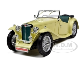 1947 MG TC Midget Yellow 1/18 Diecast Model Car Road Signature 92468
