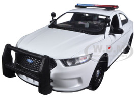 2013 Ford Police Interceptor Unmarked White Police Car 1/24 Diecast Car Model Motormax 76924