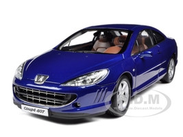 2005 Peugeot 407 Coupe Blue 1/18 Diecast Model Car Norev 184764
