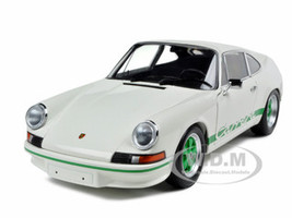 1972 Porsche 911 Carrera RS White With Green Stripes 1/18 Diecast Model Car Minichamps 100066020