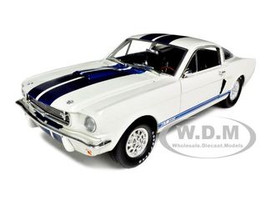 1966 Shelby Mustang GT 350 White with Blue Stripes 1/18 Diecast Car Model Shelby Collectibles 160