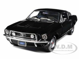 1968 Ford Mustang GT 2+2 Fastback Black Limited Edition 1 of 1800 Produced Worldwide 1/18 Diecast Model Car Greenlight 12843
