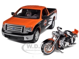 2010 Ford F-150 STX Harley Davidson Orange/White/Black 1/27 and 1/24 1958 FLH Duo Glide Motorcycle Maisto 32173
