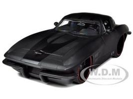 1963 Chevrolet Corvette Stingray Split Window Matt Black 1/18 Diecast Car Model Jada 96470