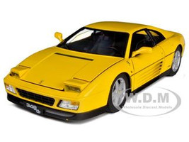 1989 Ferrari 348 TB Yellow Elite Edition 1/18 Diecast Car Model Hotwheels V7437