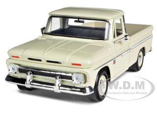 1966 Chevrolet C10 Fleetside Pickup Cream 1/24 Diecast Car Model Motormax 73355