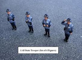State Troopers 4pc Figure Set For 1:43 Diecast Model Cars American Diorama 16200
