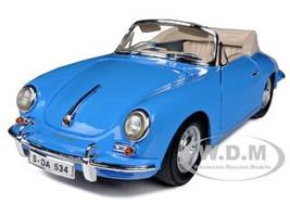 1961 Porsche 356B Convertible Blue 1/18 Diecast Car Model Bburago 12025