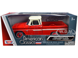1966 Chevrolet C10 Fleetside Pickup Truck Red Cream Top 1/24 Diecast Model Car Motormax 73355