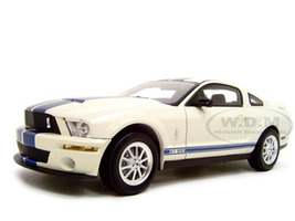 2007 Ford Mustang Shelby GT500 White Blue Stripes 1/18 Diecast Model Car Shelby Collectibles SC283