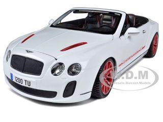 2012 2013 Bentley Continental Supersports ISR Convertible White 1/18 Diecast Model Car Bburago 11035