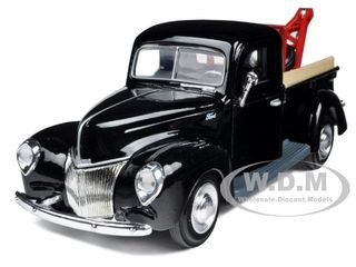 1940 Ford Pickup Tow Truck Black 1/24 Diecast Car Model Motormax 73234