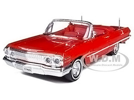 1963 Chevrolet Impala Convertible Red Red Interior 1/24 Diecast Model Car Welly 22434