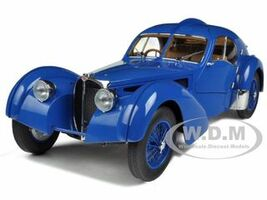 1938 Bugatti 57SC Atlantic Blue With Spoke Wheels 1/18 Diecast Model Car Autoart 70942
