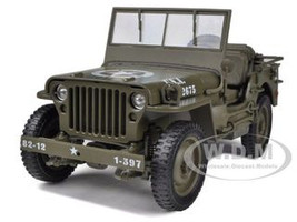 1/4 Ton US Army Jeep Vehicle WW 2 Top Down 1/18 Diecast Model Welly 18036
