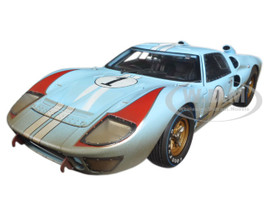 1966 Ford GT-40 MK 2 Gulf Blue Dirty Version #1 1/18 Diecast Car Model Shelby Collectibles 405
