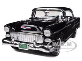 1955 Chevrolet Bel Air Hard Top Black 1/18 Diecast Car Model Motormax 73185