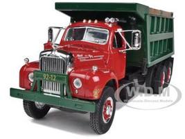 Mack B-61 Dual-Axle Dump Truck Red / Green 1/34 Diecast Model First Gear 10-3962