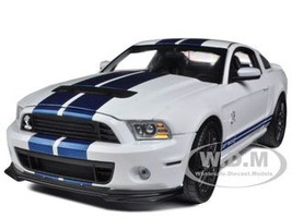2013 Ford Shelby Cobra GT500 SVT White with Blue Stripes 1/18 Diecast Car Model Shelby Collectibles 394