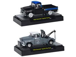 1958 Chevrolet Apache Cameo & 1958 Chevrolet Apache Cameo Tow Truck Set of 2 pieces 1/64 Diecast Model Cars M2 Machines 31500-21B