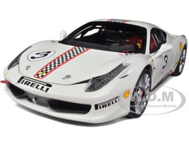Ferrari 458 Italia Challenge White #3 Elite Edition 1/18 Diecast Car Model Hotwheels X5487