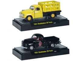 1951 Studebaker 2R Stake Truck Yellow 1951 Studebaker 2R Black 2 piece Set 1/64 Diecast Model Cars M2 Machines 31500-21A
