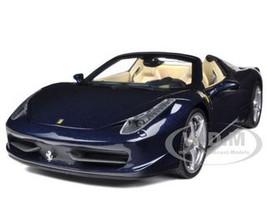 2012 2013 Ferrari Italia 458 Spider Dark Blue Metallic 1/18 Diecast Model Car Hotwheels X5529