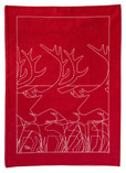 Anna Viktoria - Reindeer Tea Towel, Red