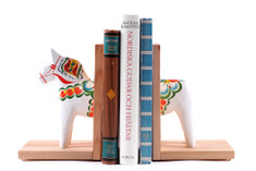 Nils Olsson - Dala Horse Book End,  White