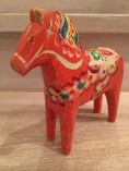 Vintage - Dala Horse Orange, 17 cm