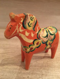 Vintage - Dala Horse Orange, 12 cm