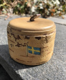 Vintage - Birch bark Jar with the Swedish flag