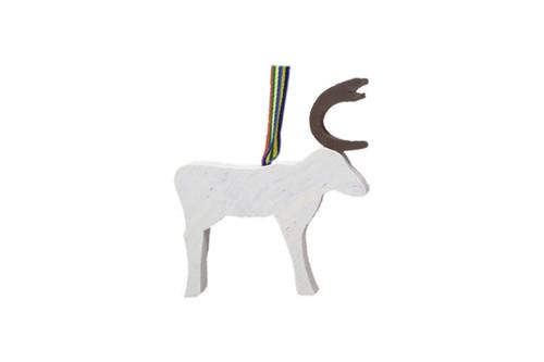 Larssons Trä - White Reindeer Decoration