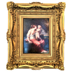"Antique ""Cupid"" Oil Painting on Canvas in Original Frame, Circa 1880."