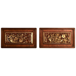 Pair Antique Panels from a Decorative Screen, probably Siamese, Circa 1900-1910.