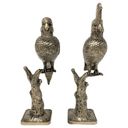 Pair of Estate Silver-Plated Perching Birds, Circa 1930's.