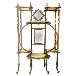 Antique English High Victorian Brass and Onyx Etagere with Beveled Mirrors, Circa 1890-1910.