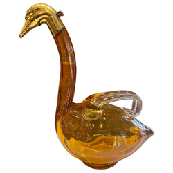Antique Austrian Amber Glass Swan Decanter with Brass Hardware, Circa 1900.