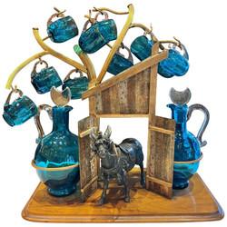Antique Continental Bronze D'Ore and Blue Crystal Glass Figural Cordial Liqueur Set, Circa 1890.