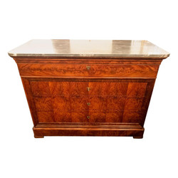 Antique French Louis Philippe Commode with Crotch Mahogany & Saint Anne Marble