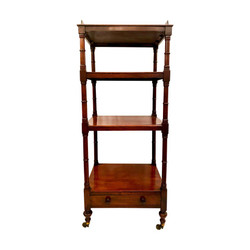 "Antique English Mahogany Three-Tiered ""Whatnot"" Shelf, circa 1880-1890"